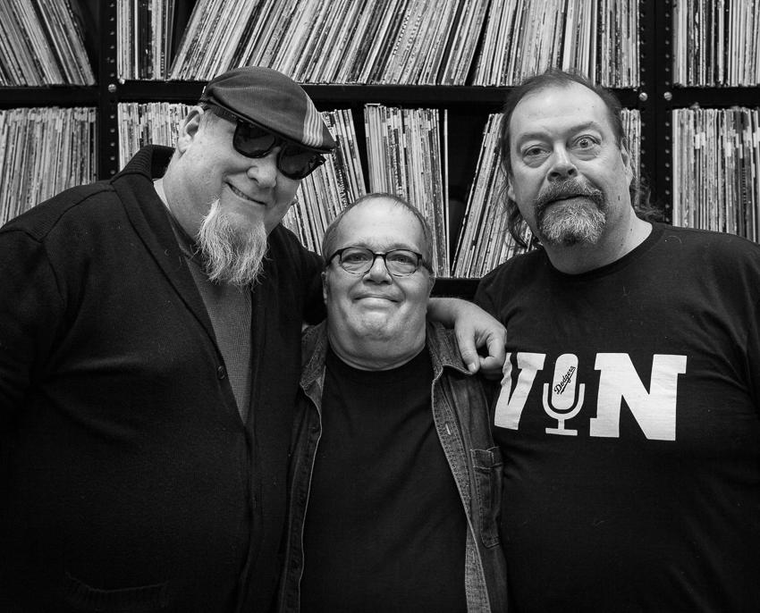 X Ray Burns, Vin Scelsa, Glen Jones in WFMU record library